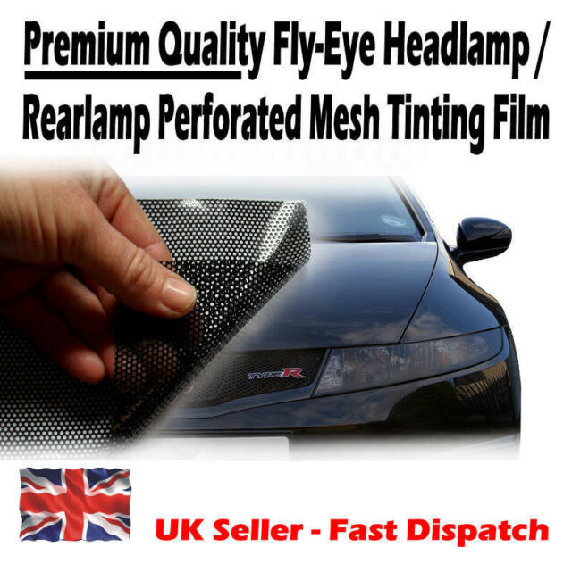 50cm x 106cm Headlight Tinting Perforated Mesh Film Like Fly-Eye MOT Legal Tint