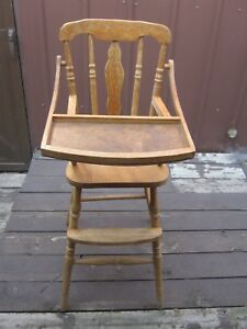 Original Vintage Wooden Highchair With Feeding Tray Infant Wood Seat