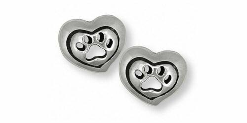 Dog Paw Earrings Jewelry Sterling Silver Handmade Dog Earrings PW8-E