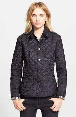 NWT 100% Authentic $595 Burberry Brit Kencott Diamond Quilted Jacket Coat! Black