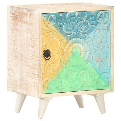 Details about  vidaXL Solid Acacia Wood Carved Bedside Cabinet 40x30x50cm Wooden Bed Table