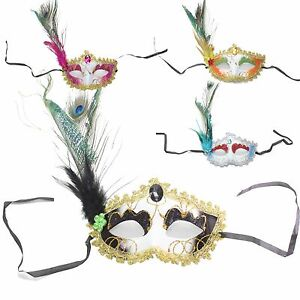 8a24aa02a013 Women's Flower Feather Lace Eye Mask Masquerade Ball Party Halloween ...