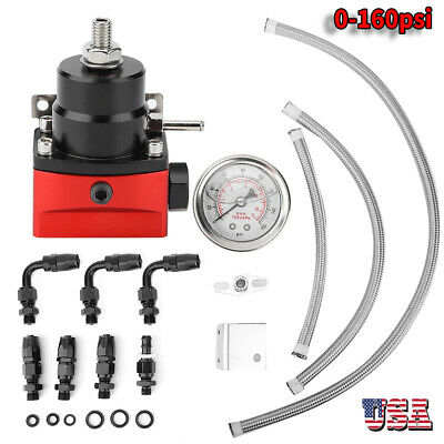 Universal Adjustable Fuel Pressure Regulator Kit 160PSI Oil Gauge AN 6 Fitting
