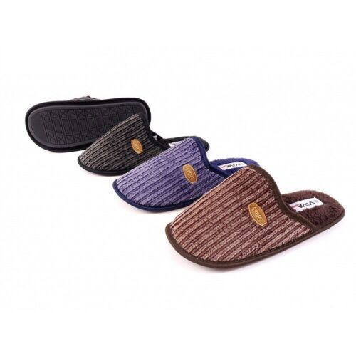 Mens Washed Effect Ribbed Corded Soft Terry Fleece Mule Slippers In 6 UK Sizes