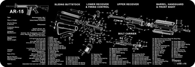 AR-15 M16 M4 Armorers Gun Cleaning Bench Mat Full Parts List ... on cz schematic, cetme schematic, enfield schematic, m4 schematic, remington 870 schematic, m1 garand schematic, revolver schematic, ar parts schematic, gun schematic, winchester schematic, ar trigger schematic, mauser schematic, pistol schematic, m16 schematic, sa80 schematic, marlin model 60 schematic, akm schematic, glock schematic, ak-47 schematic, dyson schematic,