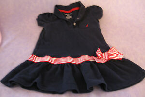 Nautica Nautical Naval Toddler Dress Sz 2T Dropped Waist Frilly Hem Pique Collar