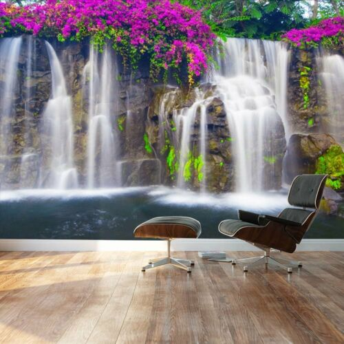 Landscape Removable Sticker- 66x96 Wall Mural Lush Waterfall and flowers
