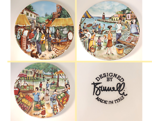 BRUNELLI-11-034-Plates-Made-in-Italy-Set-of-3-Antique-Flower-Fish-Farmer-039-s-Market