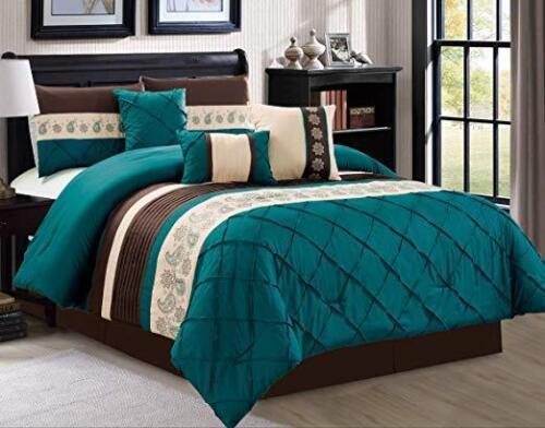 DCP 7Pcs Oversize Embroidery Bed in Bag Microfiber Comforter Set Teal,Queen