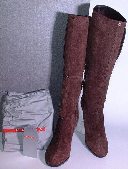 Grandes zapatos con descuento ♛ Prada edle Kalbs Velours High Heels Langschaft Stiefel Größe 37,5 ♛