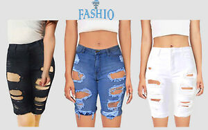 Women-039-s-Cotton-Denim-Shorts-Distressed-Ripped-Summer-Jeans-Casual-Holes-Pants