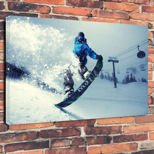 "Snowboarding Sports Printed Box Canvas Picture A1.30""x20""30mm Deep Wall Art"