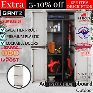 Outdoor Adjustable Storage Cabinet Cupboard Patio Weatherproof Lockable Plastic