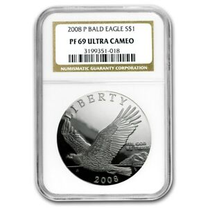 NGC PF69 PF-69 2008-P Bald Eagle Commemorative $1 Dollar Silver Proof Coin