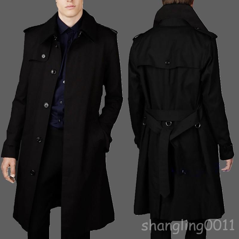Mens Single Breasted SliM Fit Long Trench Coat Formal Business Parkas S4 M-9XL