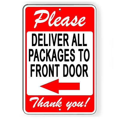 Please Deliver All Packages To Back Door Arrow Left Sign METAL usps ups SI012