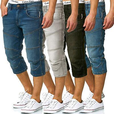 INDICODE Herren 3//4 Karierte Cargo Shorts Bermuda kurze Hose Jeans Denim Leinen