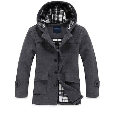 Mens boys casual wool jacket hooded coat sports warm outwear overcoat trench new