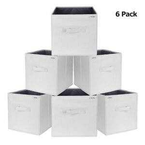 6PK-Foldable-Polyester-Storage-Cubes-Drawer-Baskets-Bins-Light-Gray-W-PP-board