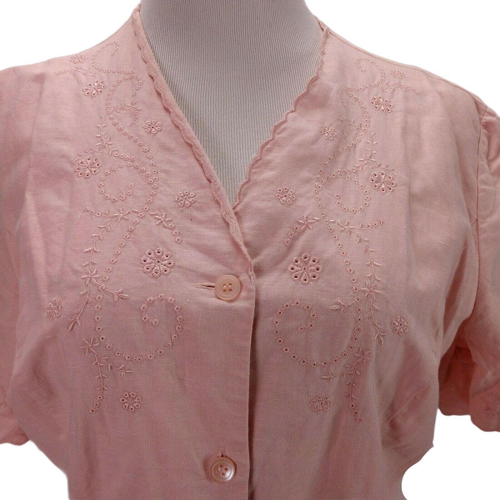 Vintage Laura Ashley Linen Eyelet Dress Size 14 P… - image 6