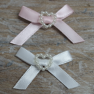 Satin-Ribbon-Bows-with-Heart-30mm-Baby-Small-Pink-Blue-Lemon-White-Ivory-10