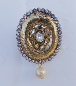 Details about Indian Party Wear Women's Saree Pin Sari pin Brooch Antic  Gold Tone Cz Stone b17
