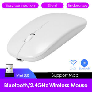 Dual Mode Wireless 2.4GHz USB Rechargeable Optical Computer Mice Bluetooth Mouse