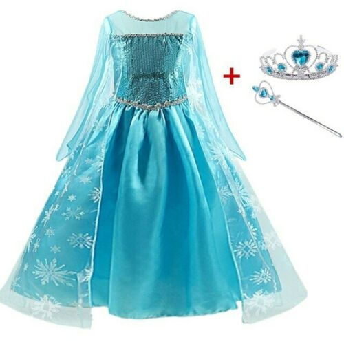Princess Elsa Queen Dress for Girls Kids Halloween Dresses Cosplay Anna Costumes