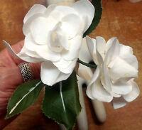 Vintage Linen Silk White Double Gardenia On Stem Leaves Czeck 1 Spray Hand Wrap