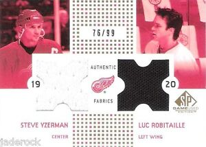 Steve-Yzerman-Luc-Robitaille-2002-03-SP-Game-Used-Fabrics-Gold-Jersey-76-99