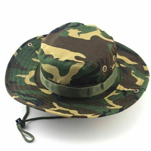 Outdoor Sport Bucket Cargo Safari Hat Bush Boonie Mens Wide Brim Fishing Sun Cap