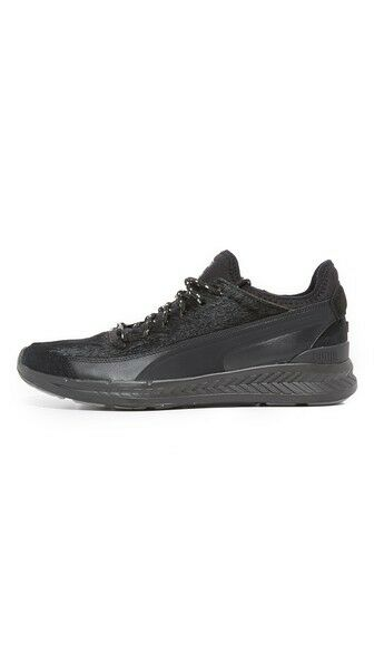 NEW Mens Puma Select Ignite Sock Camping Black Leather & Pony Hair Sneaker 9 Great discount