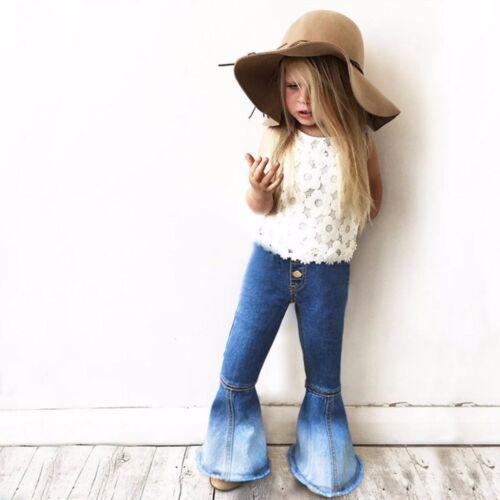 Children Kids Girls Vintage Jeans Splice Bell-bottoms Denim Pants Trousers YU