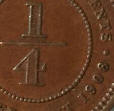 1908 KEVll 1/4 quater cent  Coin  High Grade coin!