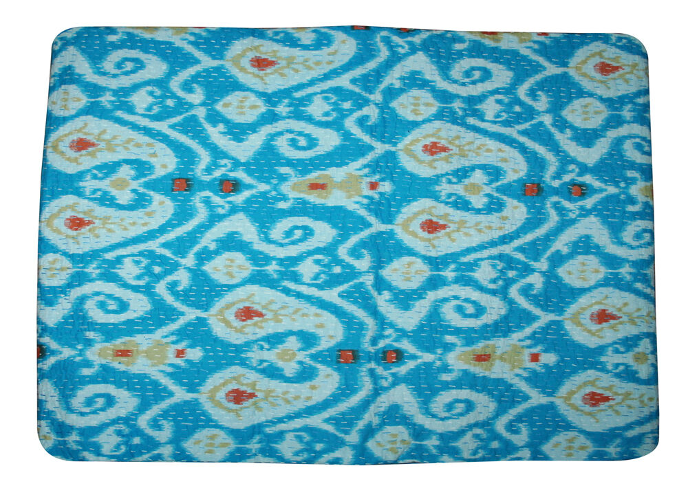 Indian Handmade Kantha Decor Paisley Blanket Quilt Throw Queen Vintage Bed Cover