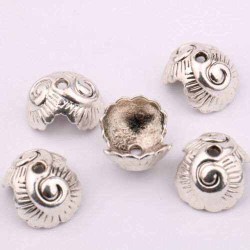 15//30Pcs Tibet Silver Carved Flower Spacer Beads Caps Craft Findings DIY 14*8mm