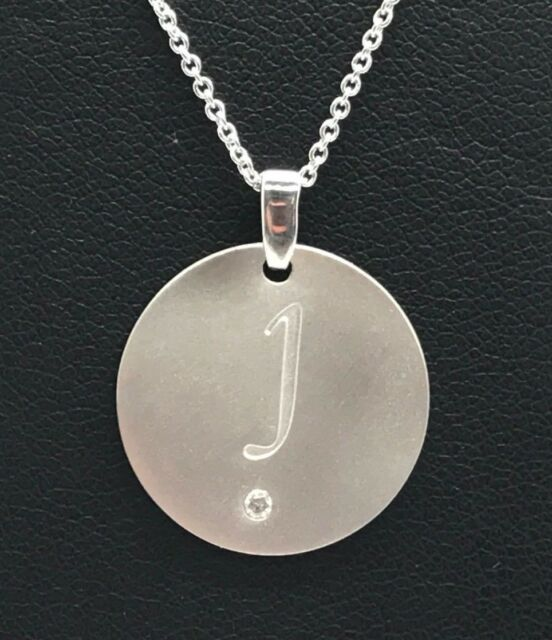 ae8bf29b065b99 Sterling Silver Diamond Accent J Engraved Letter Initial Matte Round  Necklace