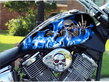 """16"""" BLUE flames middle finger skull 4pc motorcycle vinyl decal sticker tank wrap"""
