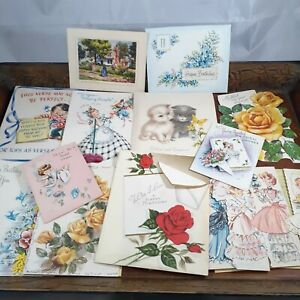 Vintage-greeting-cards-used-1950s-Ephemera-Love-Birthday-bridal-notecard-15-ct