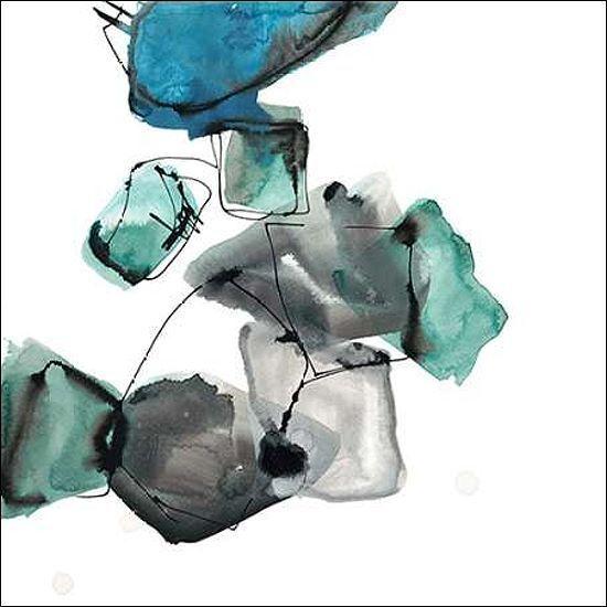 Lora Gold  Geometric Expressions 1 Keilrahmen-Bild Leinwand abstrakt modern blau