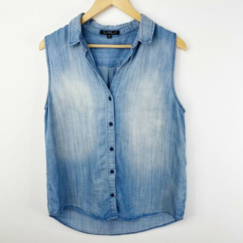 Velvet Heart Womens Medium Blue Sleeveless Blouse