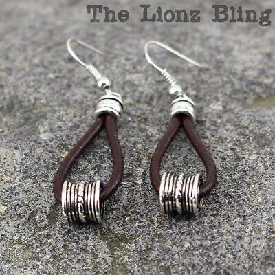 Sterling Silver Genuine Leather Hoop Earrings Multiple Colors