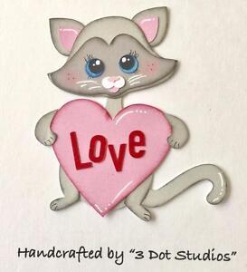 Valentine Kitty Premade Scrapbook Paper Piecing 4 Album Pages 3dot