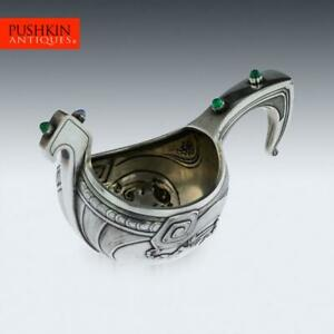 ANTIQUE-20thC-RUSSIAN-GEM-SET-SOLID-SILVER-KOVSH-MARSHAK-MOSCOW-c-1900