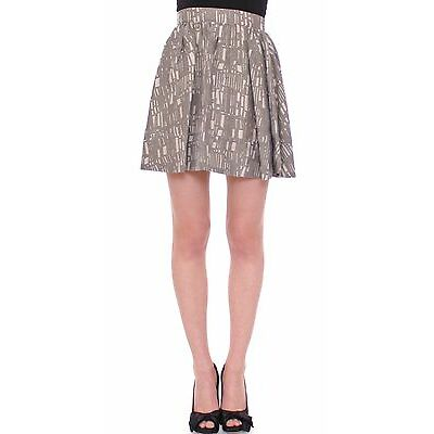 NWT $350 Comeforbreakfast Net Printed Gray Mini Short Skirt A-Line S/US6/EU36
