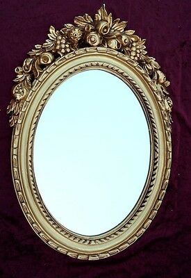 Espejo De Pared Antiguo Ovalado Oro Baño 51x37 Mirror Shabby C496 To Clear Out Annoyance And Quench Thirst Arte Y Antigüedades