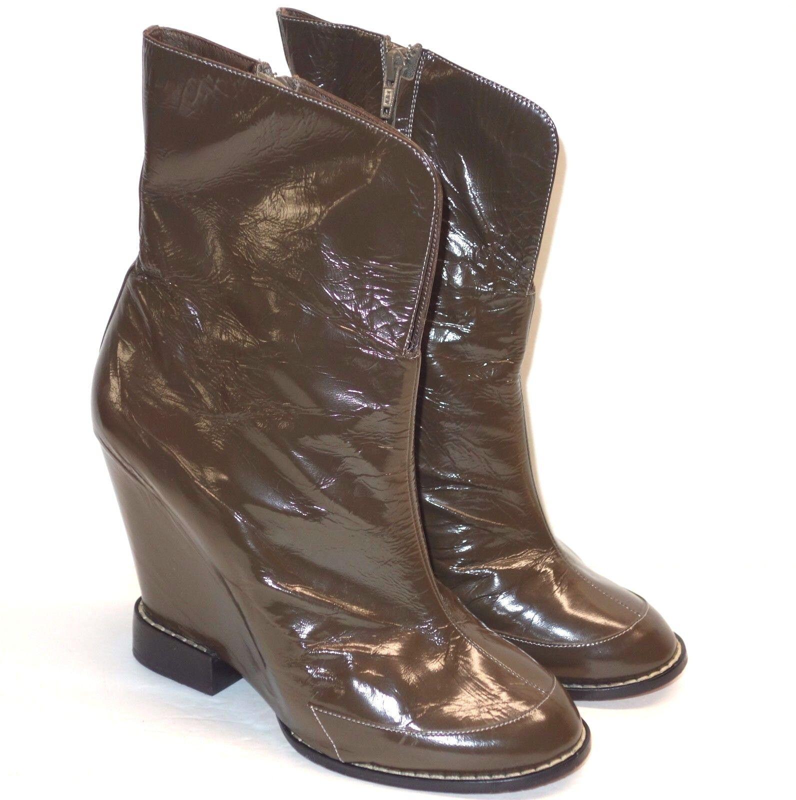 Chloe Marrón Cuña Tacón Alto 5 5 5  Charol botas al tobillo Botines Talla 40 10 9.5  venta de ofertas