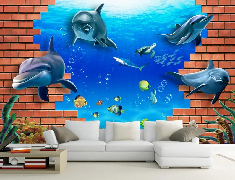 3D Roter Backstein Delphin 864 Tapete Wandgemälde Tapete Tapeten Bild Familie DE