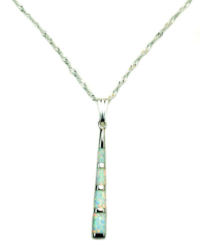 Twisted corde chaîne Fire Opal Inlay Argent Sterling Cylindre Barre collier 18 In environ 45.72 cm