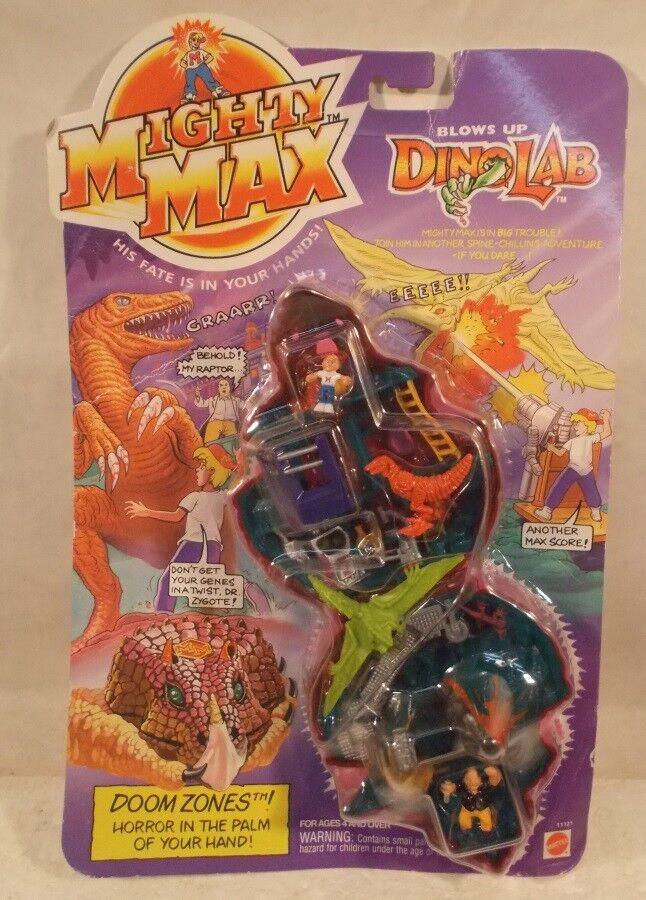 Mighty Max - Doom Zones Blows Up DinoLab Playset Raptor Prof Zygote Mattel (MOC)